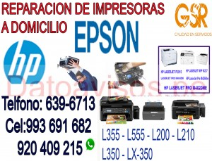 impresoras epson y hp  (993-691-682)  servicio tecnico a domicilio